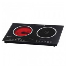 Kuton KT-272DIR 2800W Slim Full black crystal glass Induction Hob+Electric Ceramic Hob