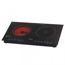Kuton KT-30DIRP 2000W Black crystal-glass Electric Induction Hob+Ceramic Hob